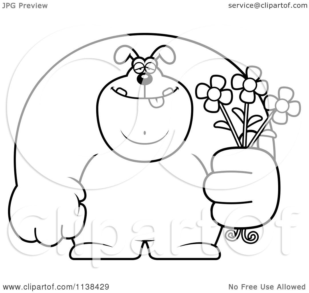 cartoon clipart of an outlined buff dog holding flowers