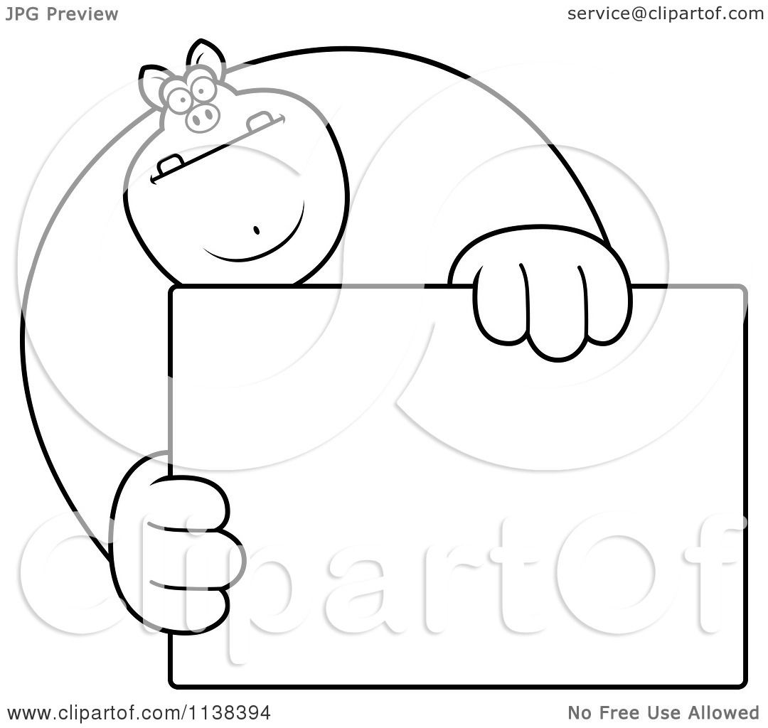 cartoon clipart of an outlined buff pig holding a sign 1 black and