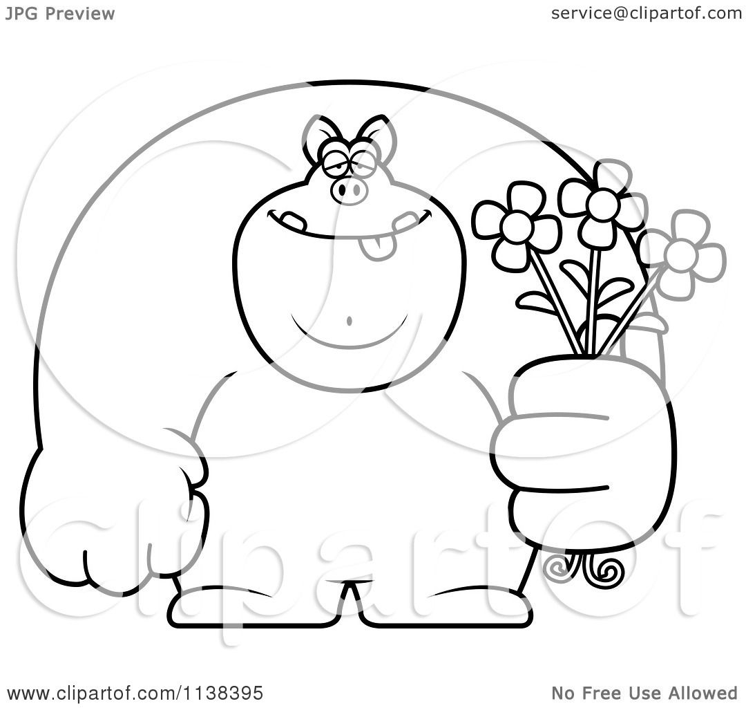cartoon clipart of an outlined buff pig holding flowers black and