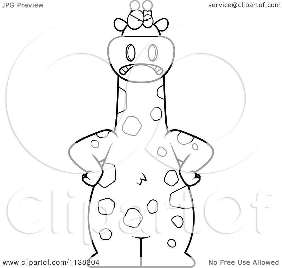 cartoon clipart of an outlined clipart angry giraffe black and