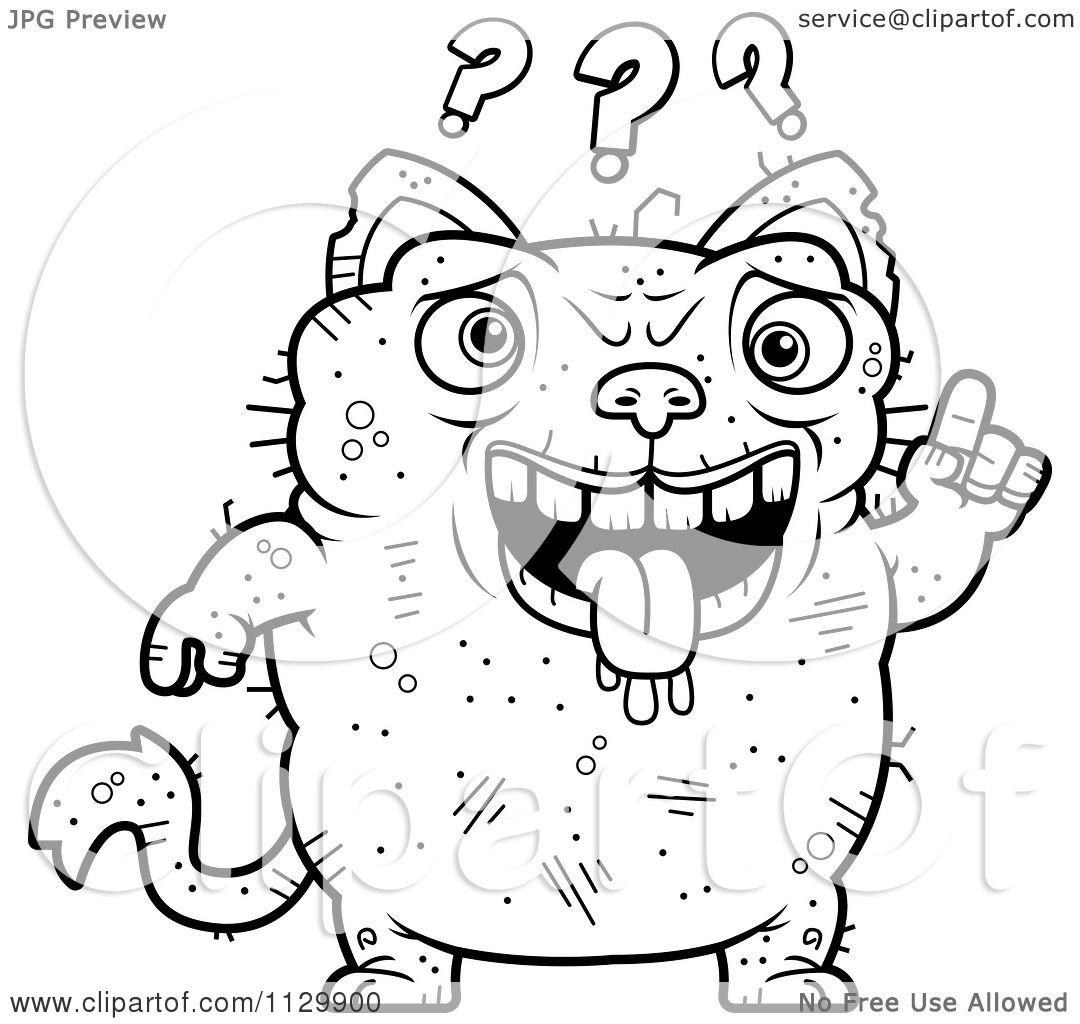 cartoon clipart of an outlined confused ugly cat black and white vector coloring page by cory thoman