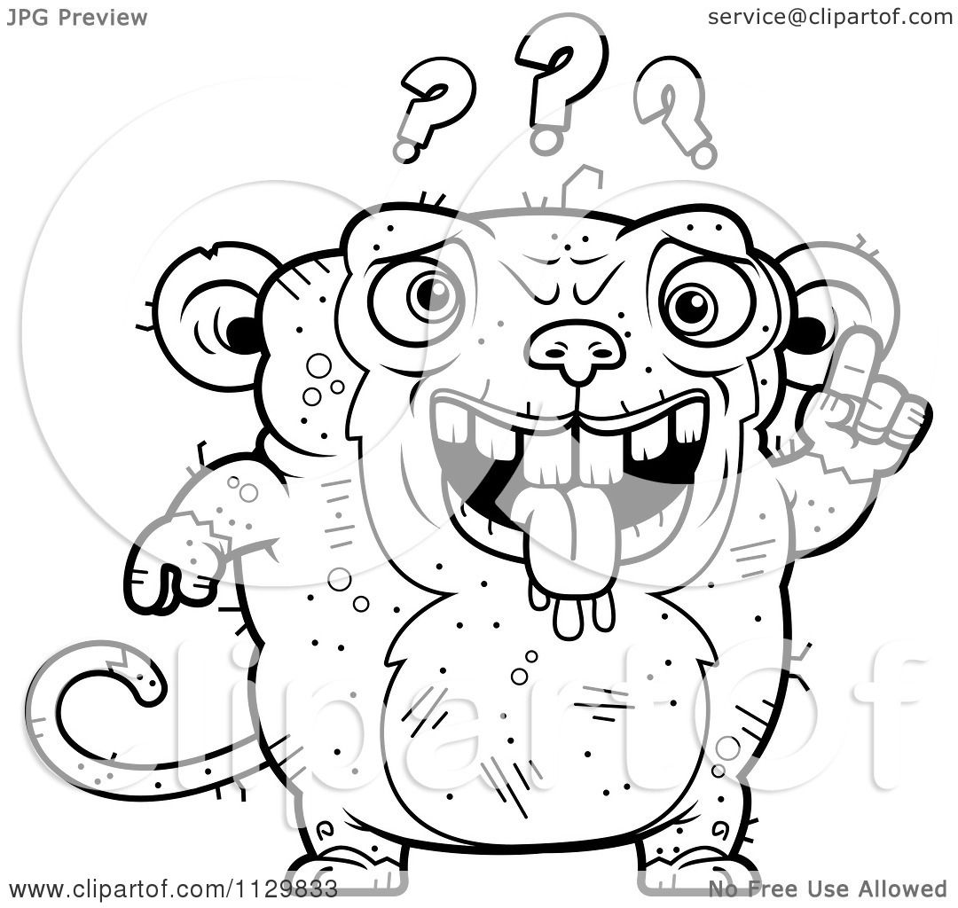 cartoon clipart of an outlined confused ugly monkey black and