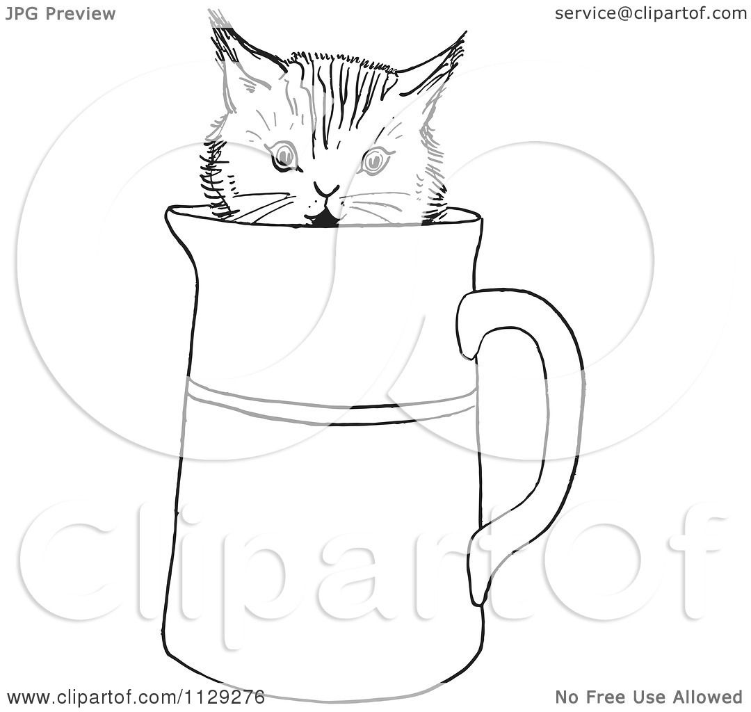 cartoon clipart of an outlined curious kitten in a water pitcher