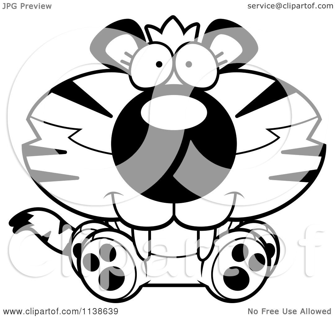 Cartoon Clipart Of An Outlined Cute Sitting Tiger Cub ...