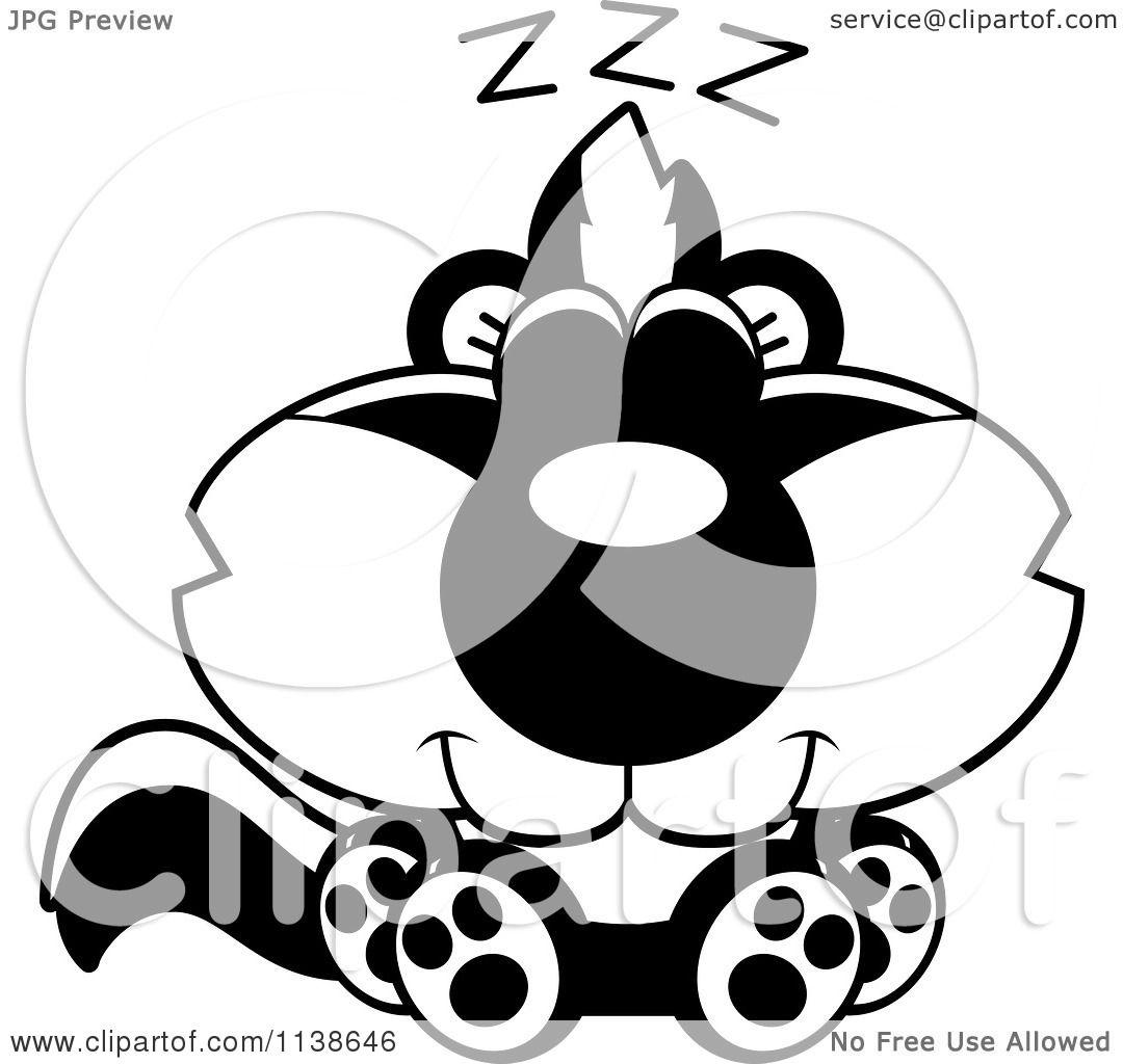 cartoon clipart of an outlined cute sleeping baby skunk black