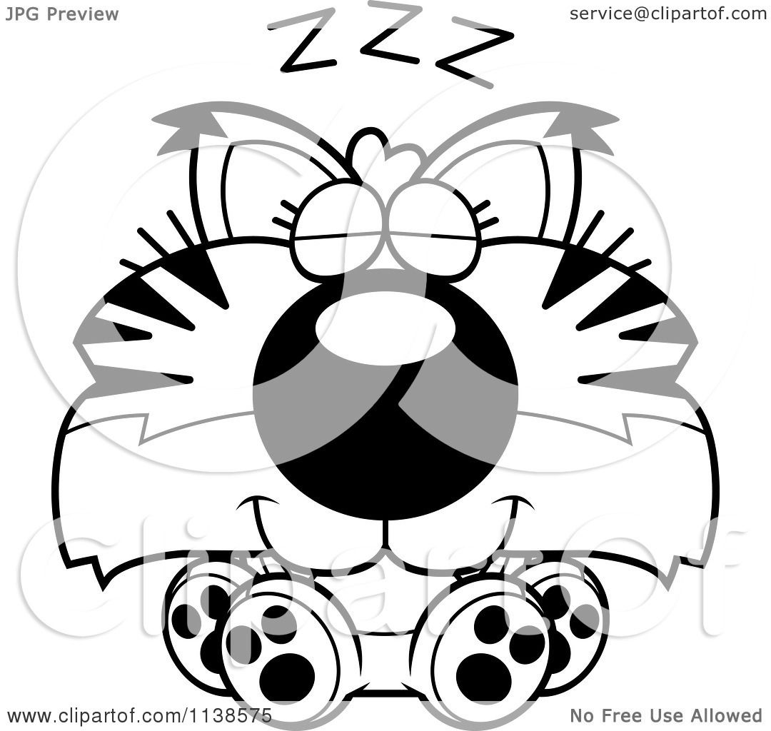 Bobcat construction coloring pages - Cartoon Clipart Of An Outlined Cute Sleeping Bobcat Cub Black And White Vector Coloring Page By Cory Thoman