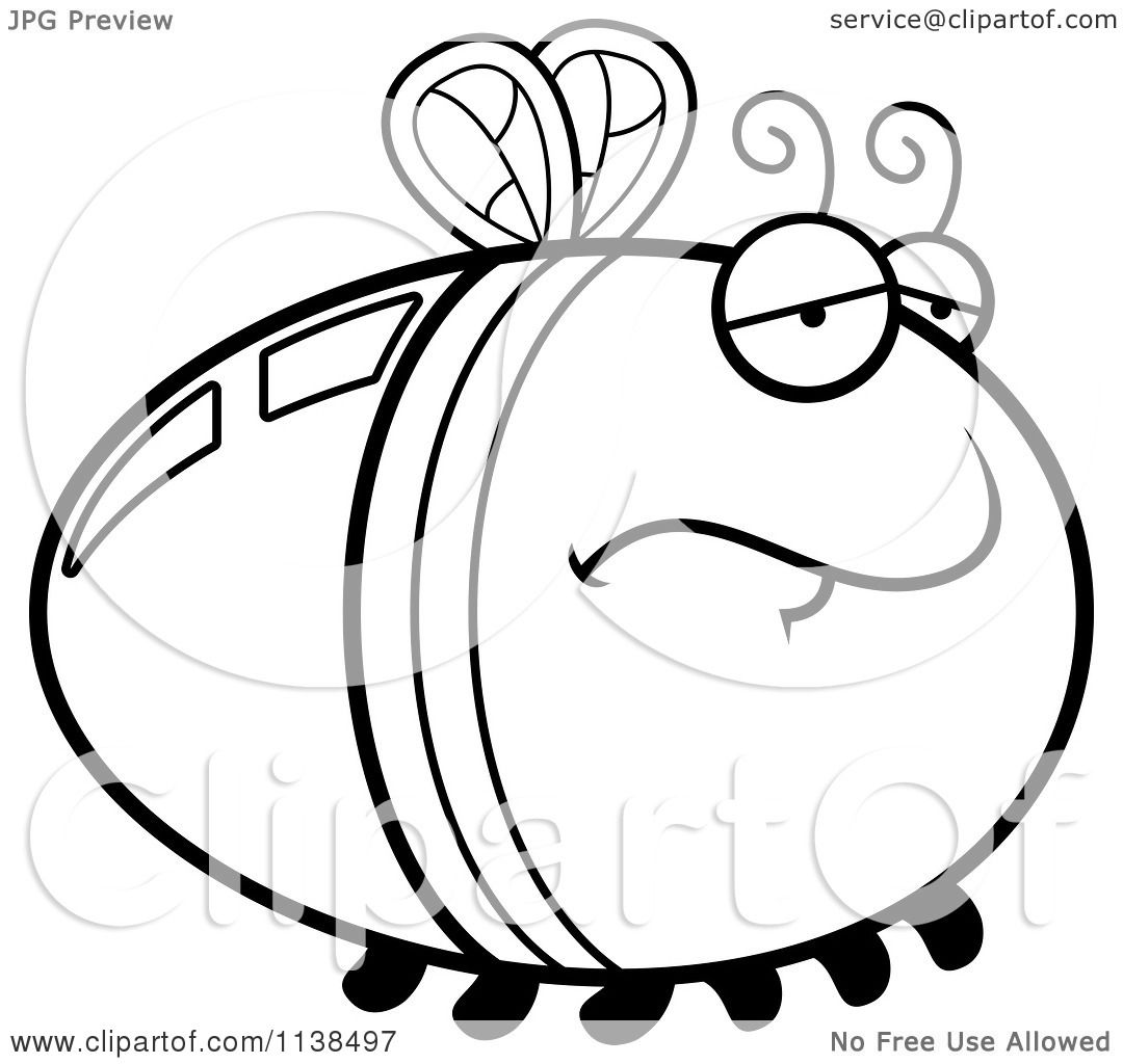 cartoon clipart of an outlined depressed firefly lightning bug