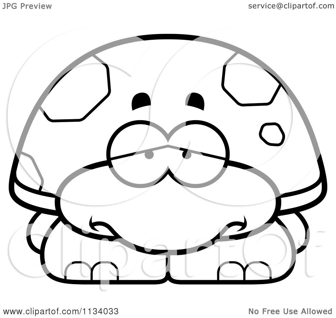 cartoon clipart of an outlined depressed tortoise turtle black