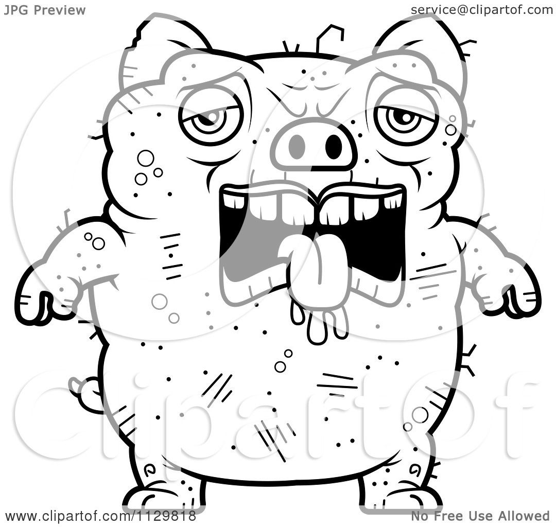 Free coloring pages guinea pigs - Cartoon Clipart Of An Outlined Depressed Ugly Pig Black And White Vector Coloring Page By Cory Thoman