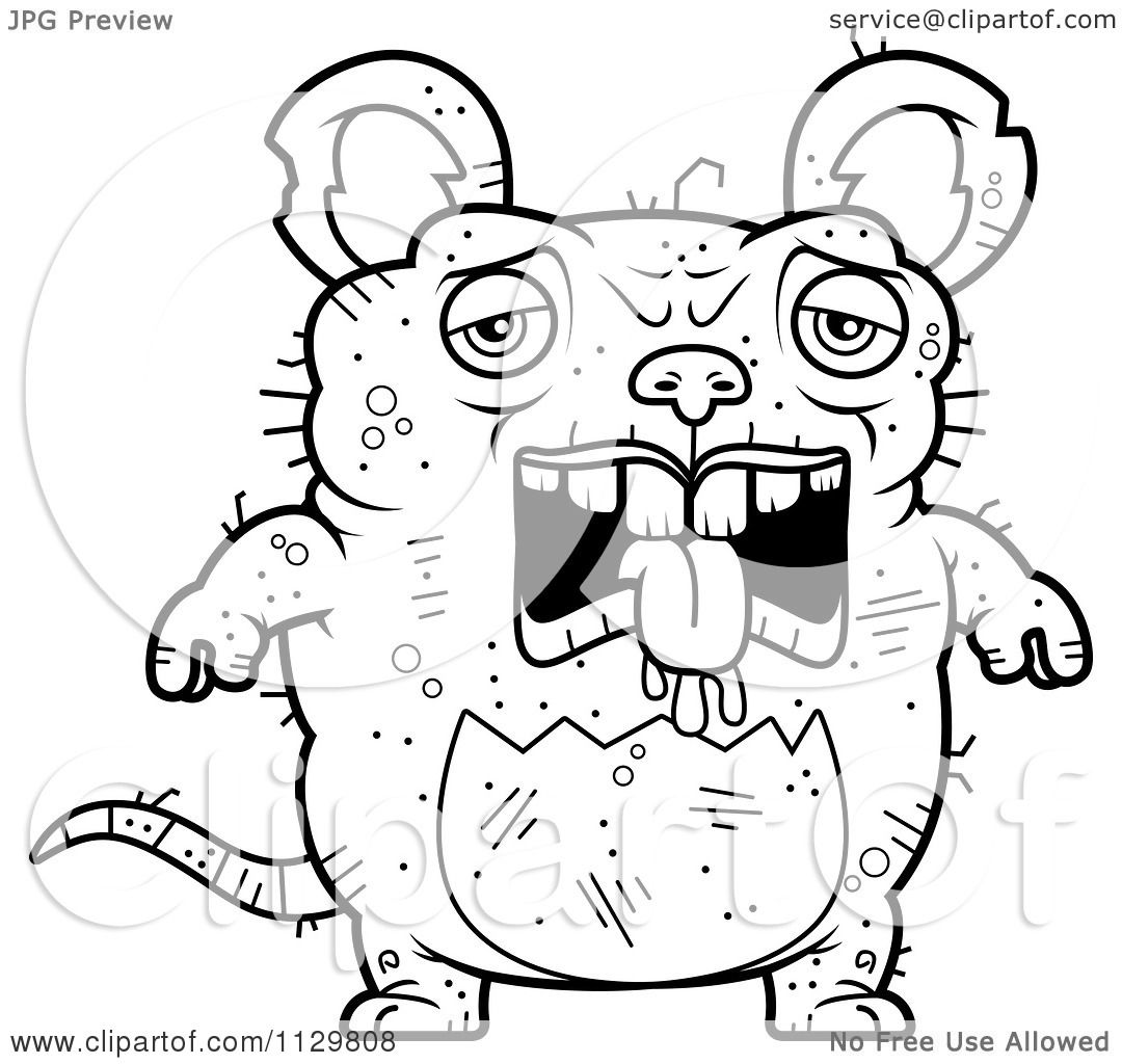 Disney lab rats coloring pages - Cartoon Clipart Of An Outlined Depressed Ugly Rat Black And