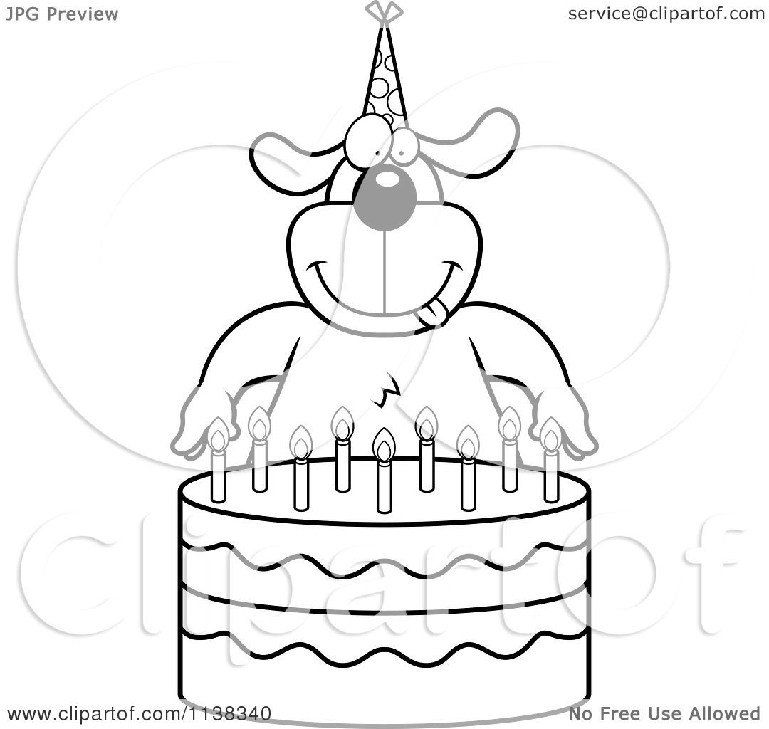 Cartoon Clipart Of An Outlined Dog Making A Wish Over Candles On A
