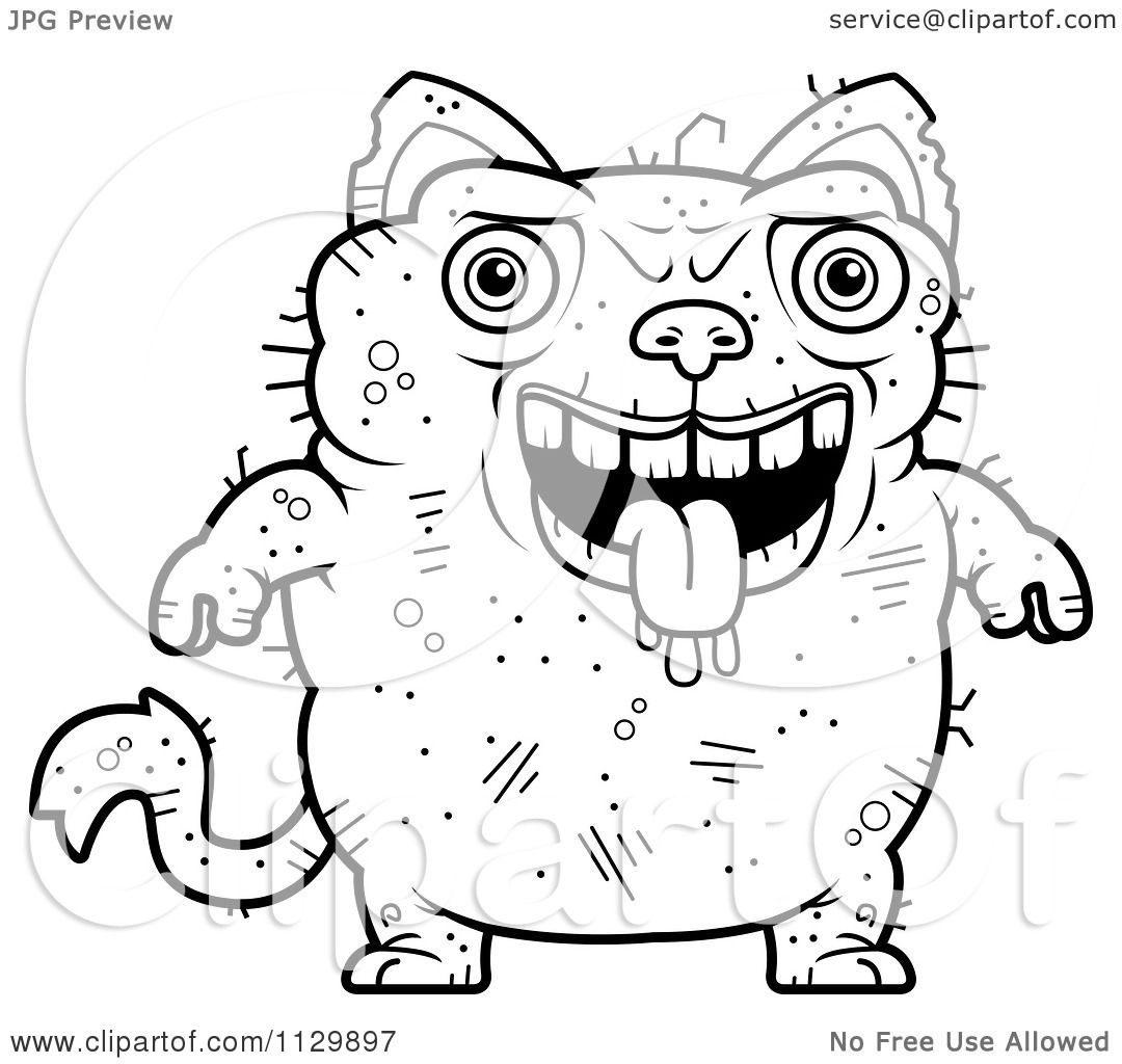 cartoon clipart of an outlined drooling ugly cat black and white vector coloring page by cory thoman