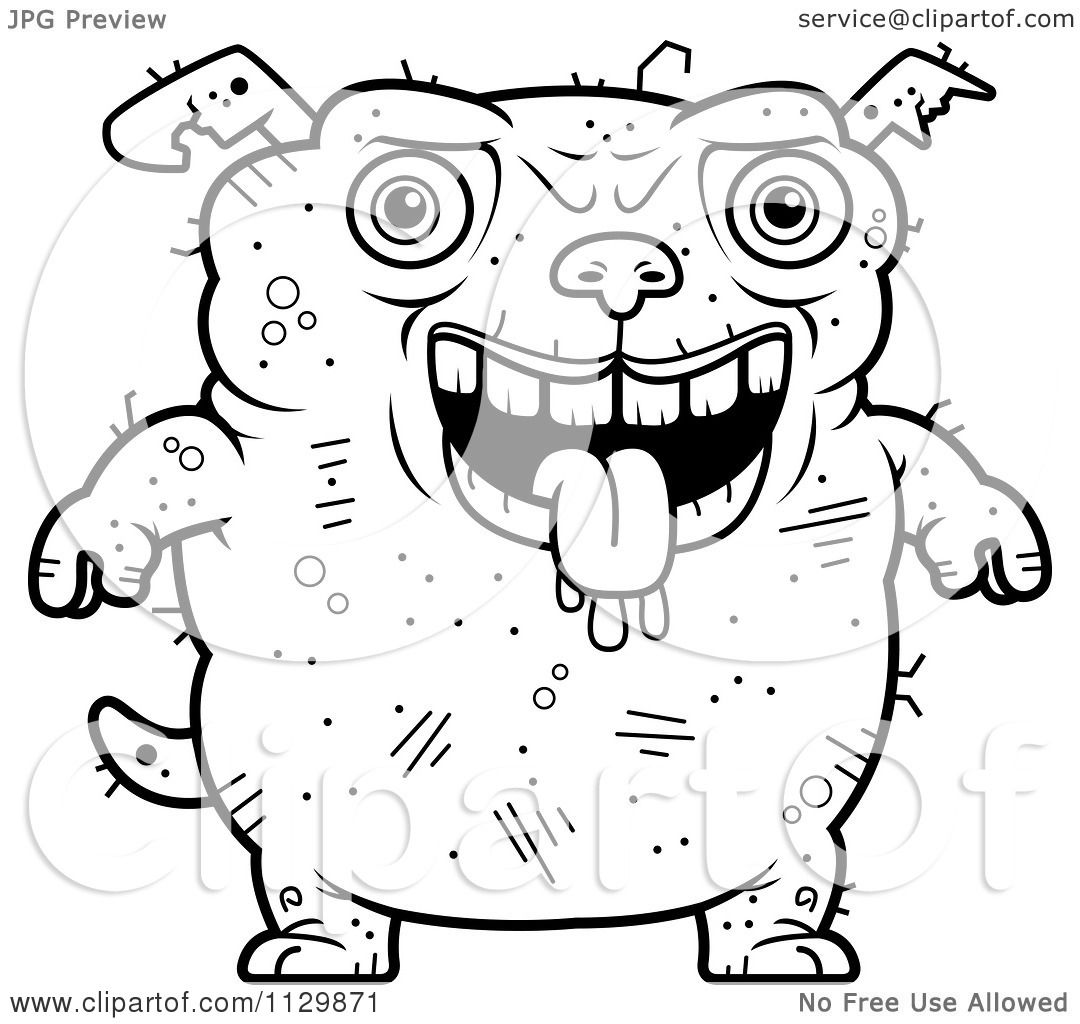 cartoon clipart of an outlined drooling ugly dog