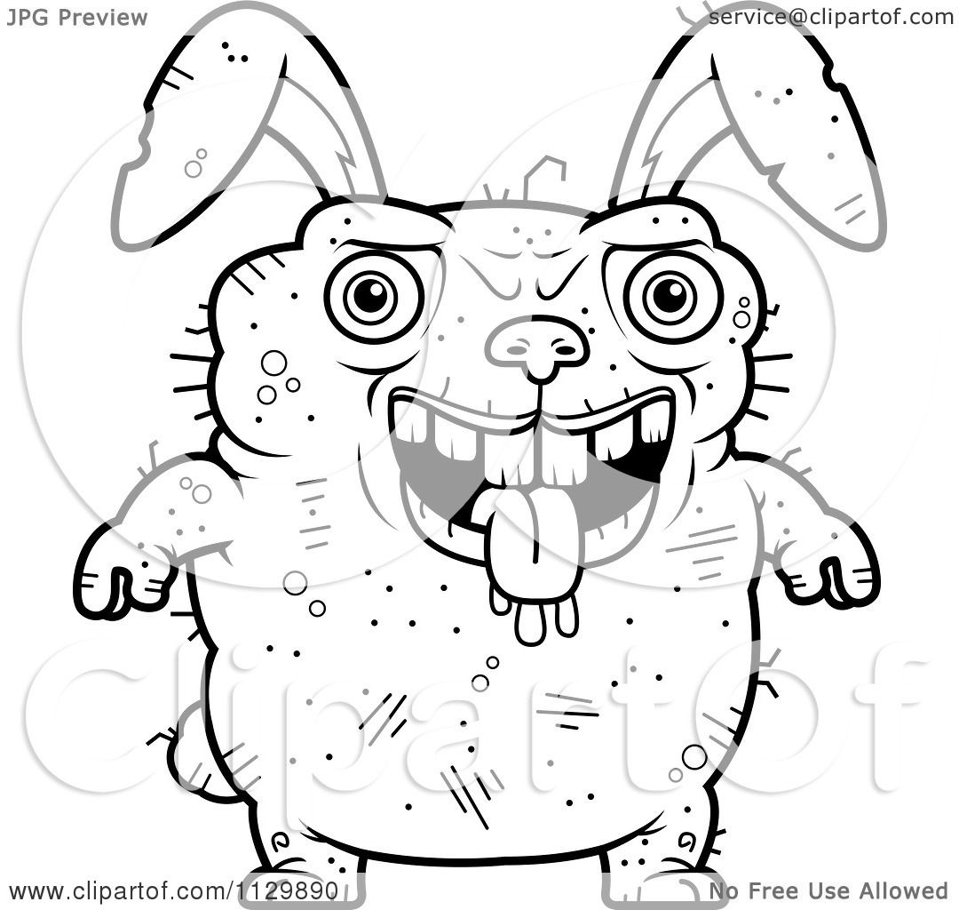 Cartoon Clipart Of An Outlined Drooling Ugly Rabbit ...