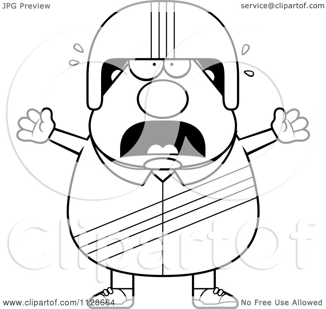 cartoon clipart of an outlined frightened race car driver black