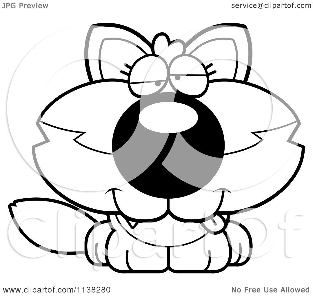 Cartoon Clipart Of An Outlined Goofy Baby Wolf Black And White Vector Coloring Page By Cory Thoman 1138280