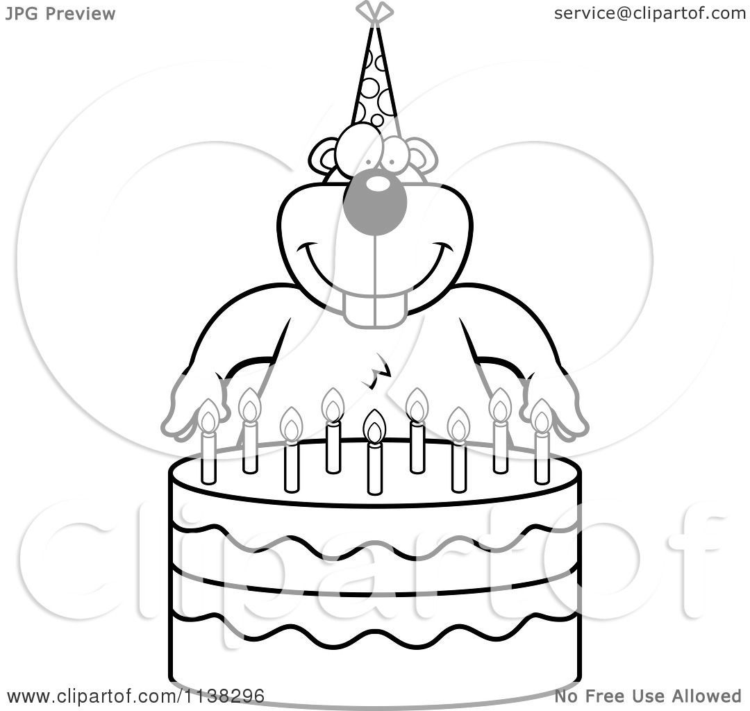 cartoon clipart of an outlined gopher making a wish over candles