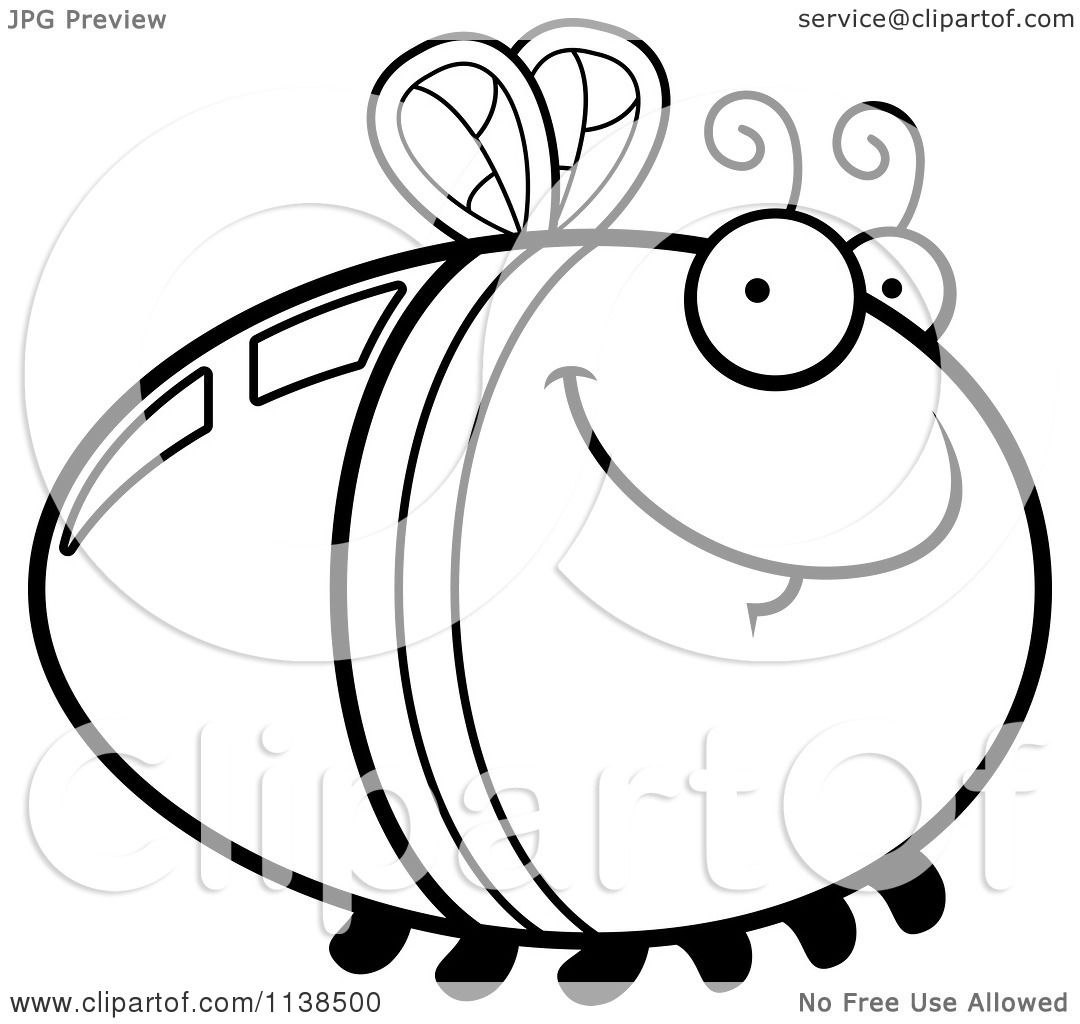 cartoon clipart of an outlined grinning firefly lightning bug rh clipartof com
