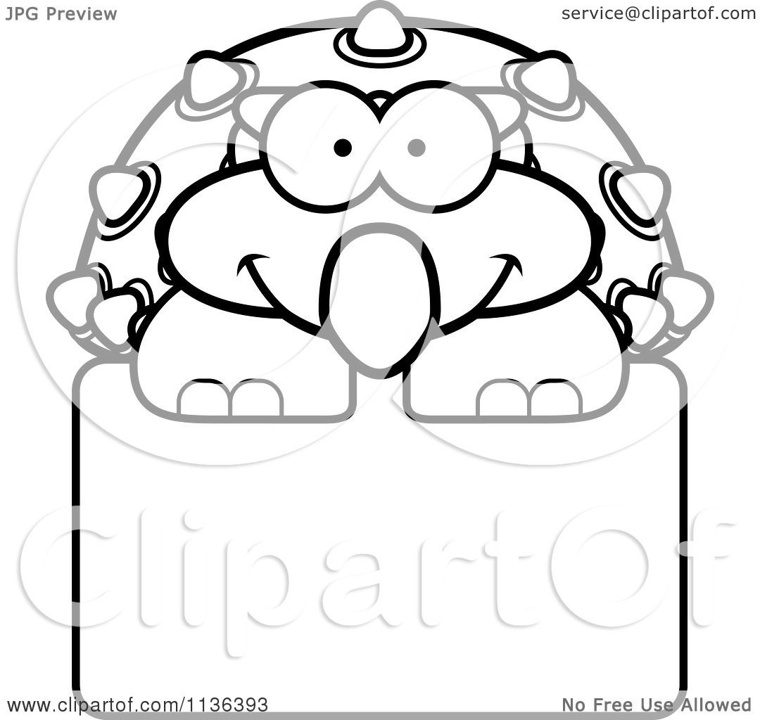 cartoon clipart of an outlined happy ankylosaurus dinosaur over a