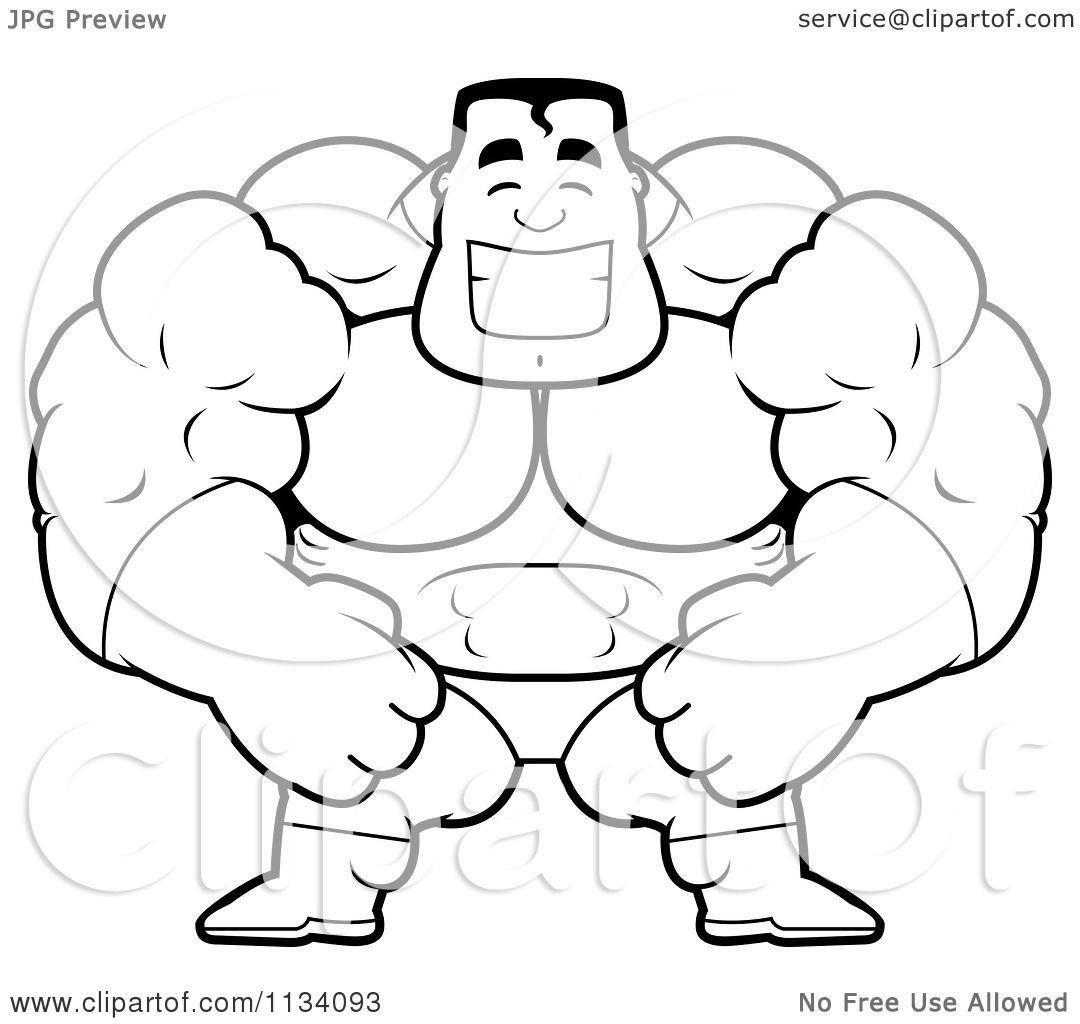 cartoon clipart of an outlined happy buff super hero guy black and rh clipartof com Attractive Cartoon Characters Tuff Guy Cartoon