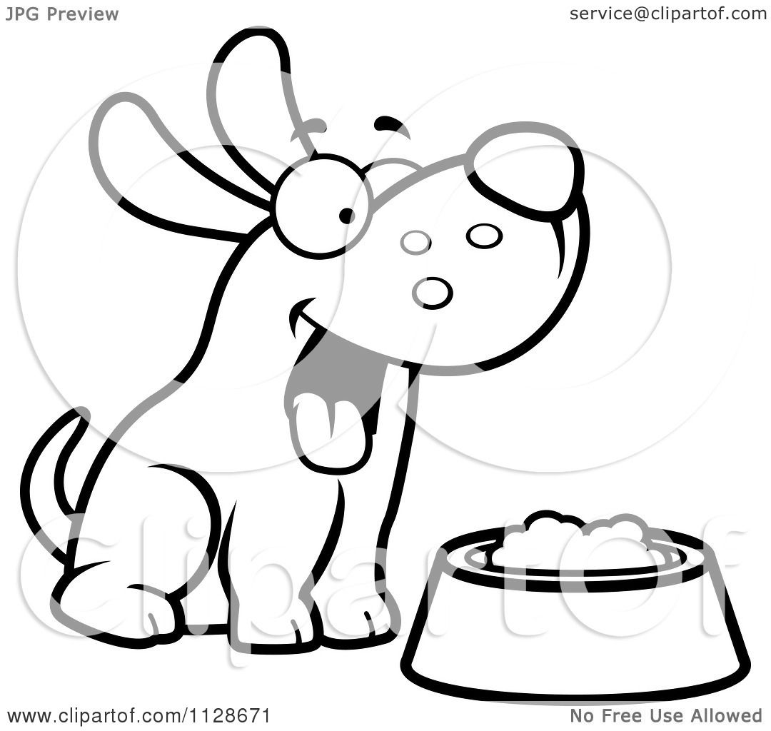 cartoon clipart of an outlined happy dog with a bowl of food black and white vector coloring page by cory thoman
