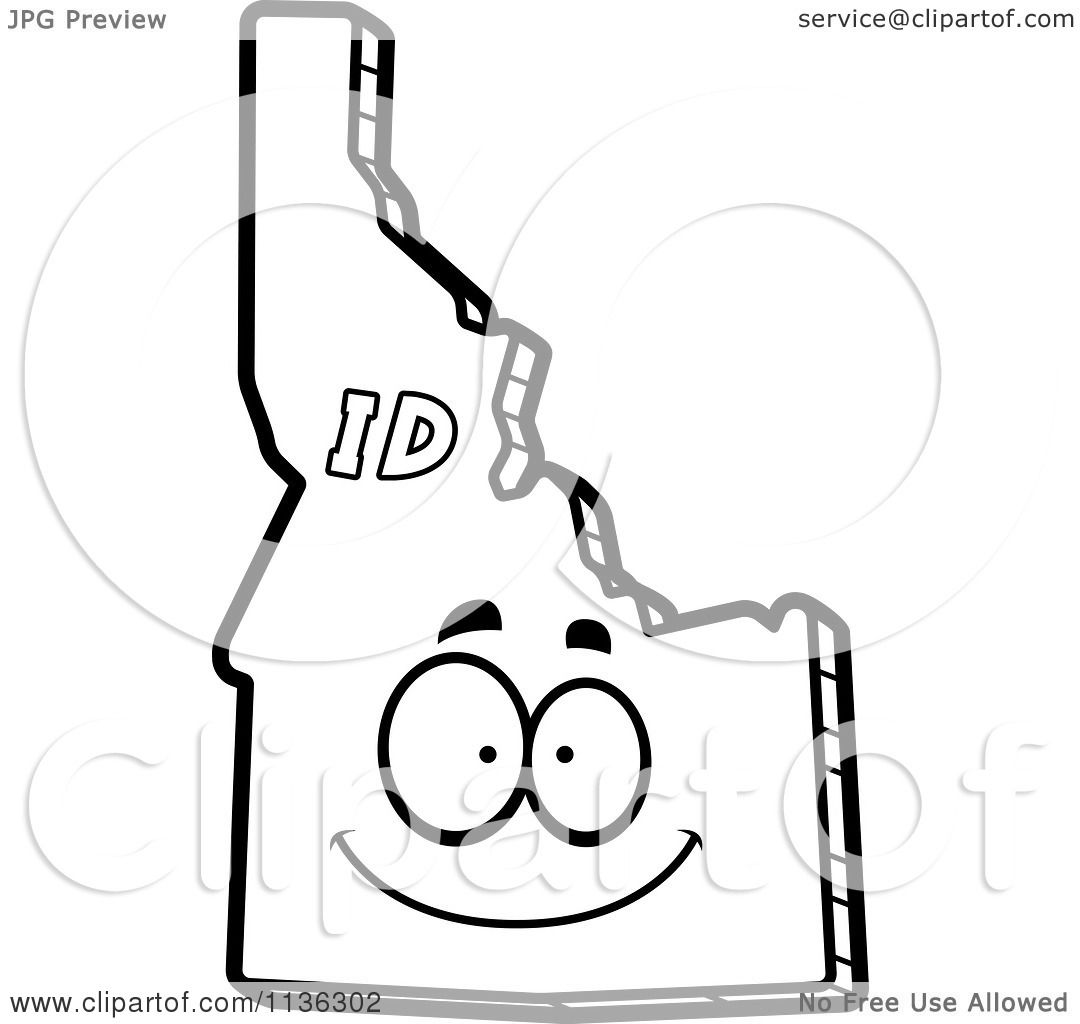 Cartoon clipart of an outlined happy idaho state character for Idaho state flag coloring page