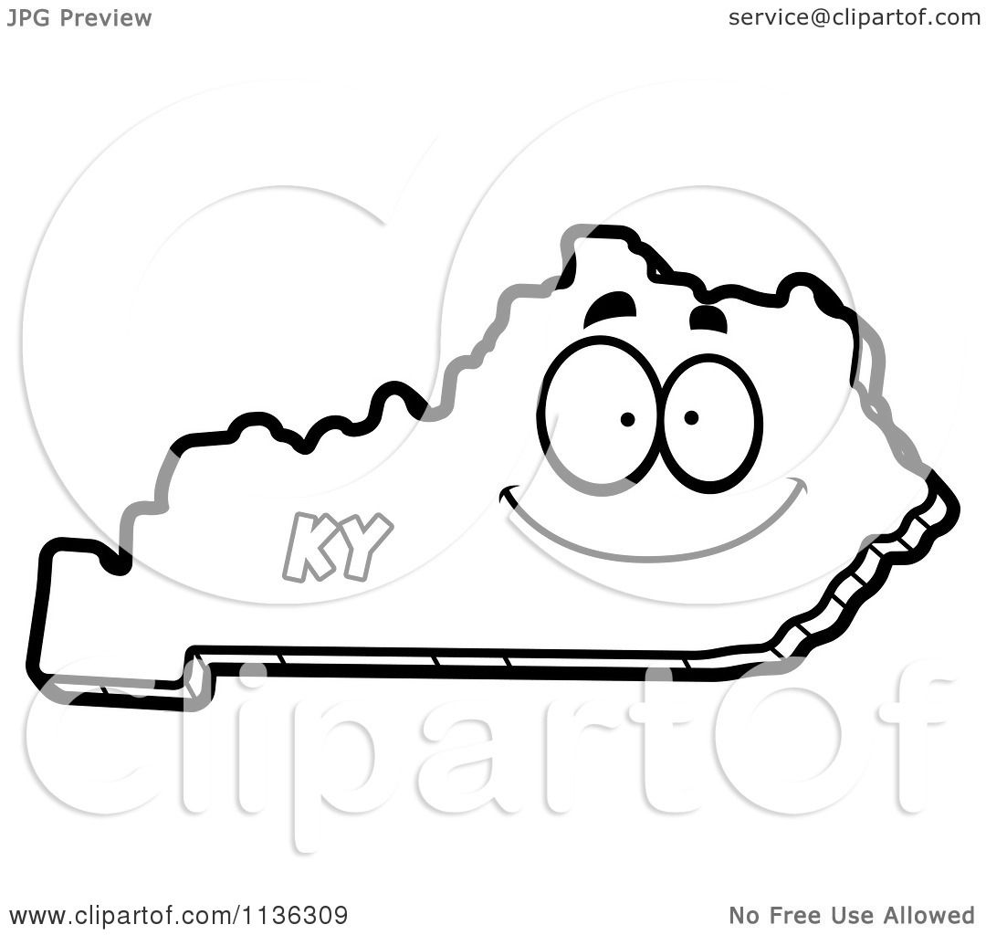 Cartoon clipart of an outlined happy kentucky state for Kentucky state flower coloring page