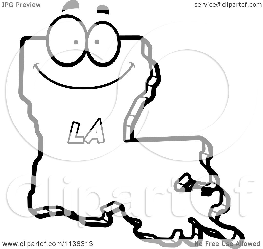 cartoon clipart of an outlined happy louisiana state character