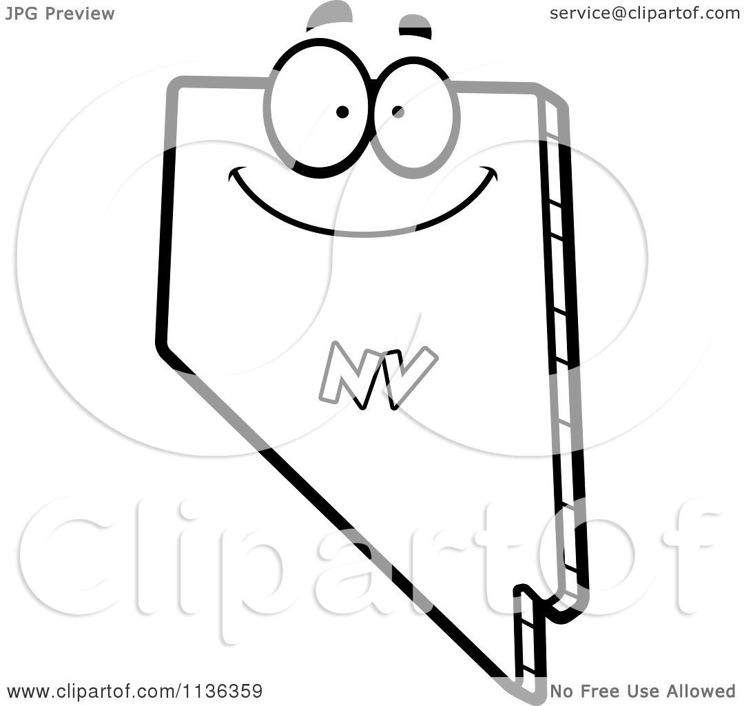 Cartoon clipart of an outlined happy nevada state for Nevada state flag coloring page