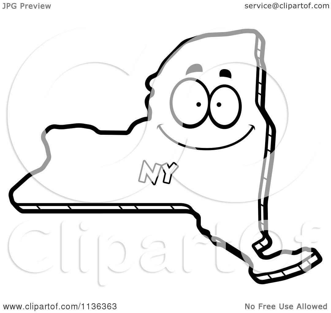 Cartoon Clipart Of An Outlined Happy New York State
