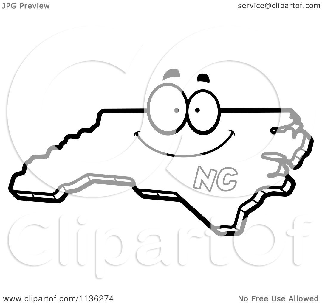 cartoon clipart of an outlined happy north carolina state character black and white vector coloring page by cory thoman