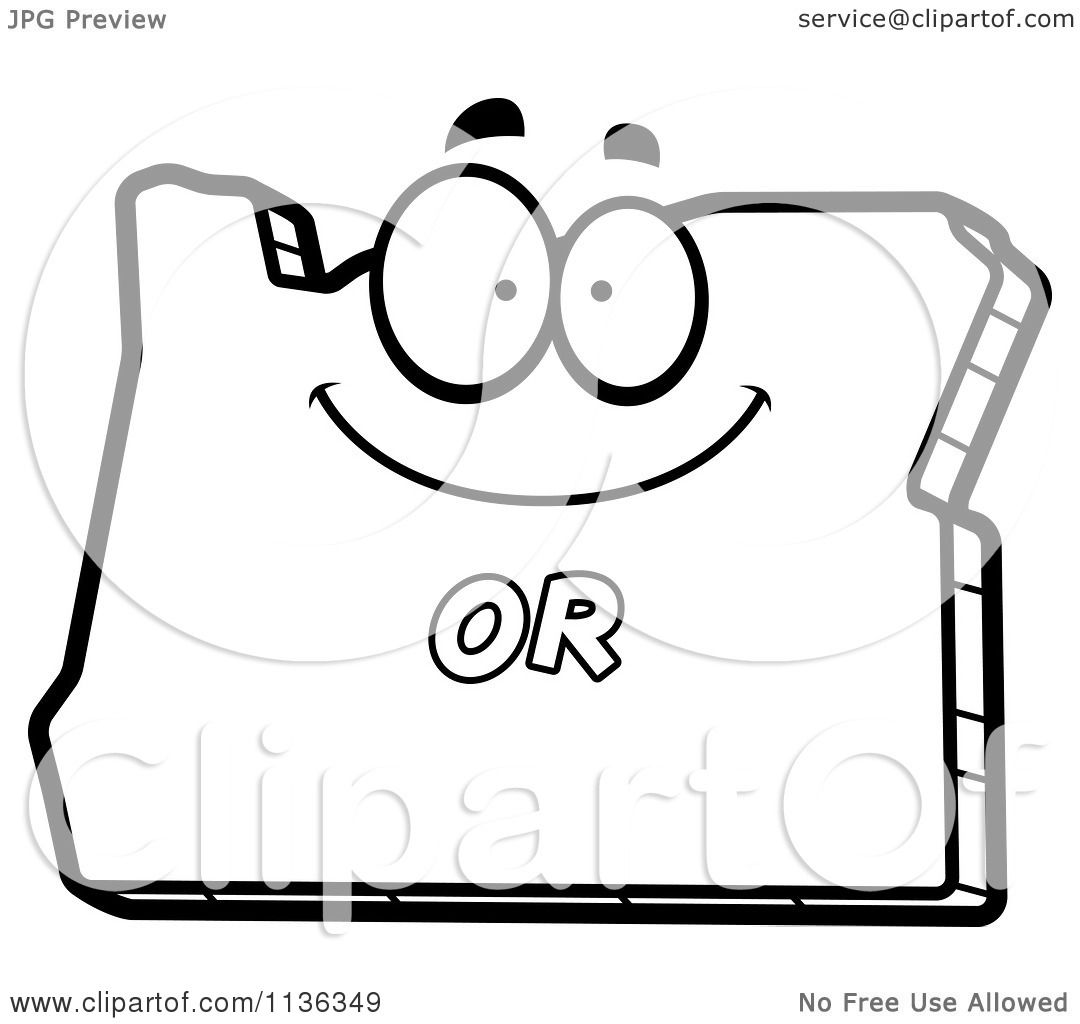 oregon flag coloring page - cartoon clipart of an outlined happy oregon state