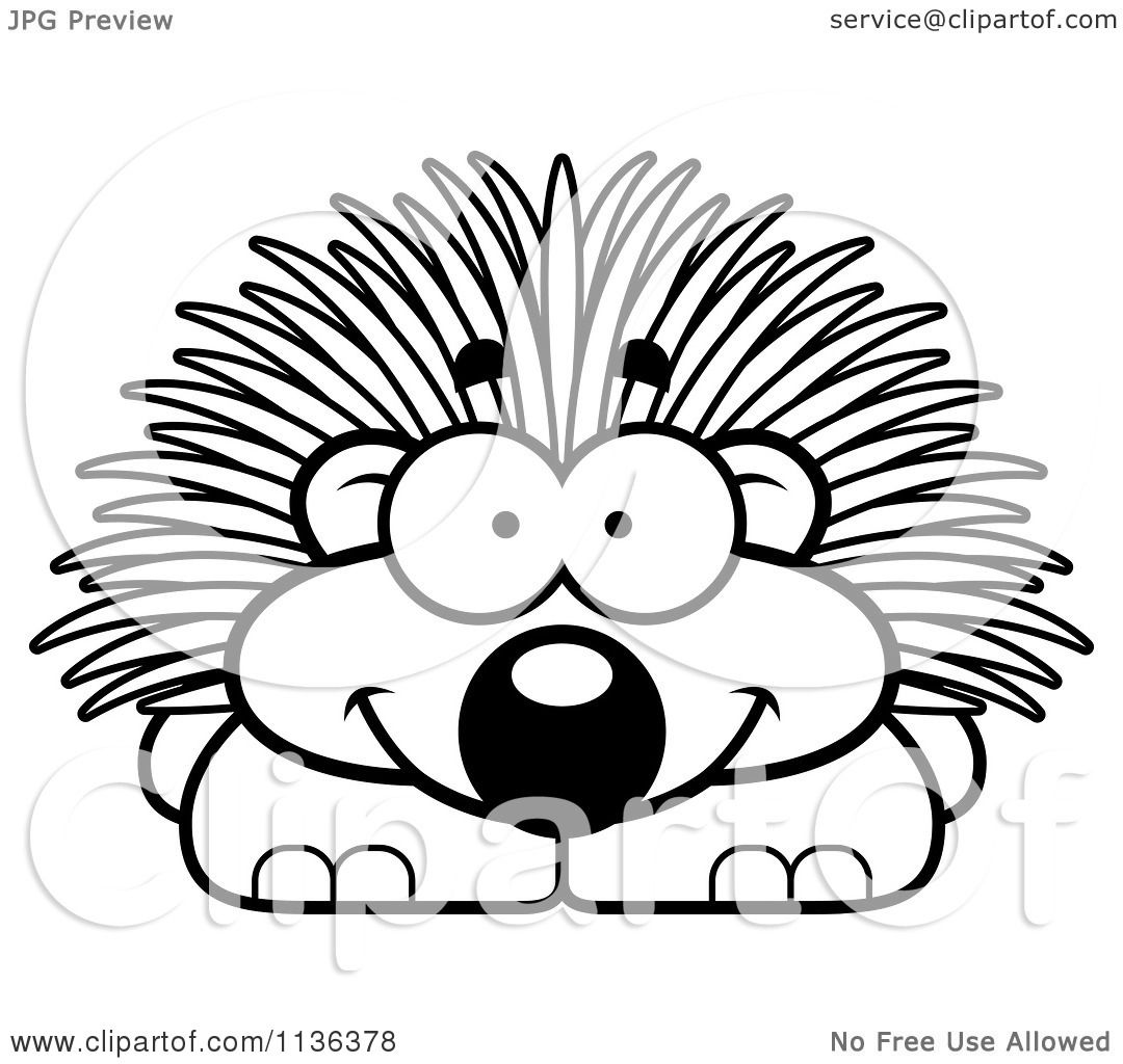 cartoon clipart of an outlined happy porcupine black and white