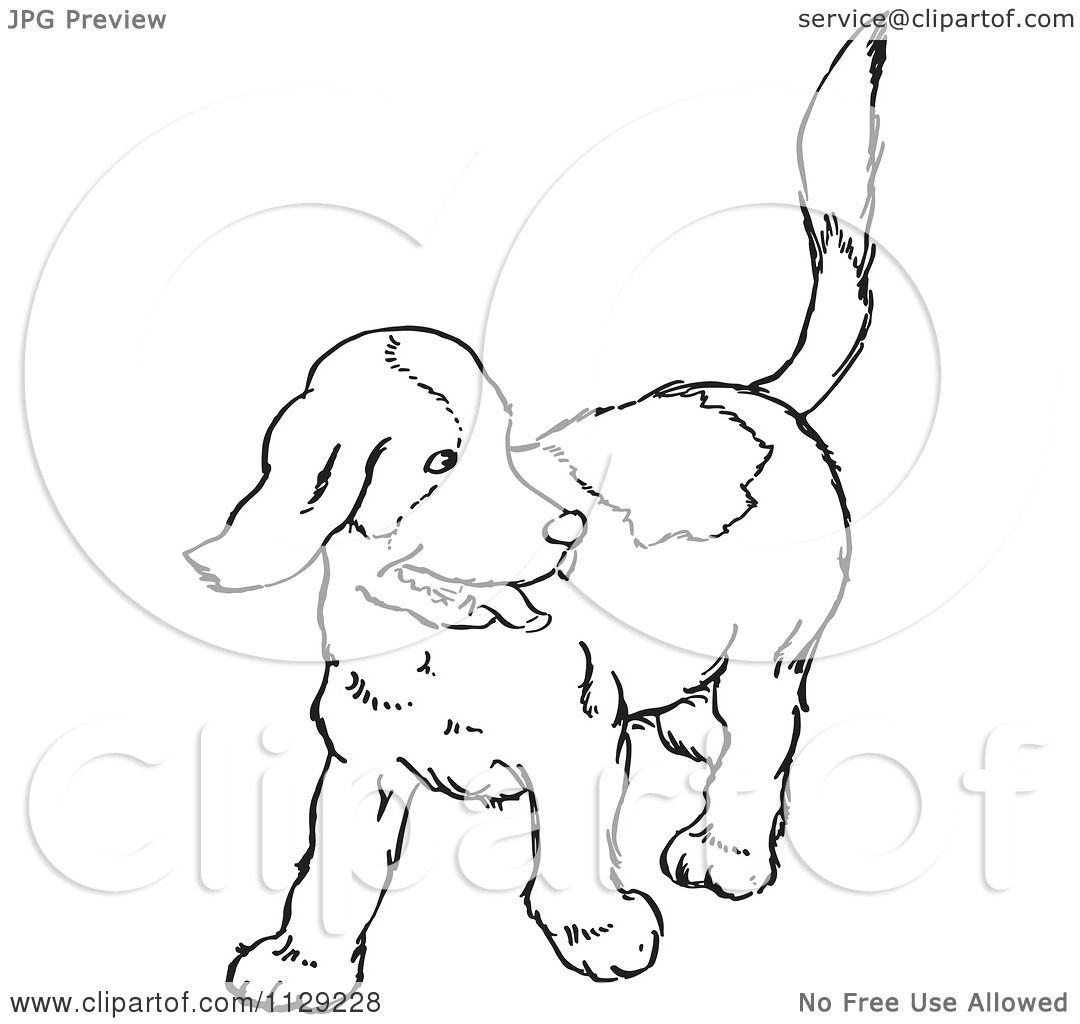 cartoon clipart of an outlined happy puppy looking back black