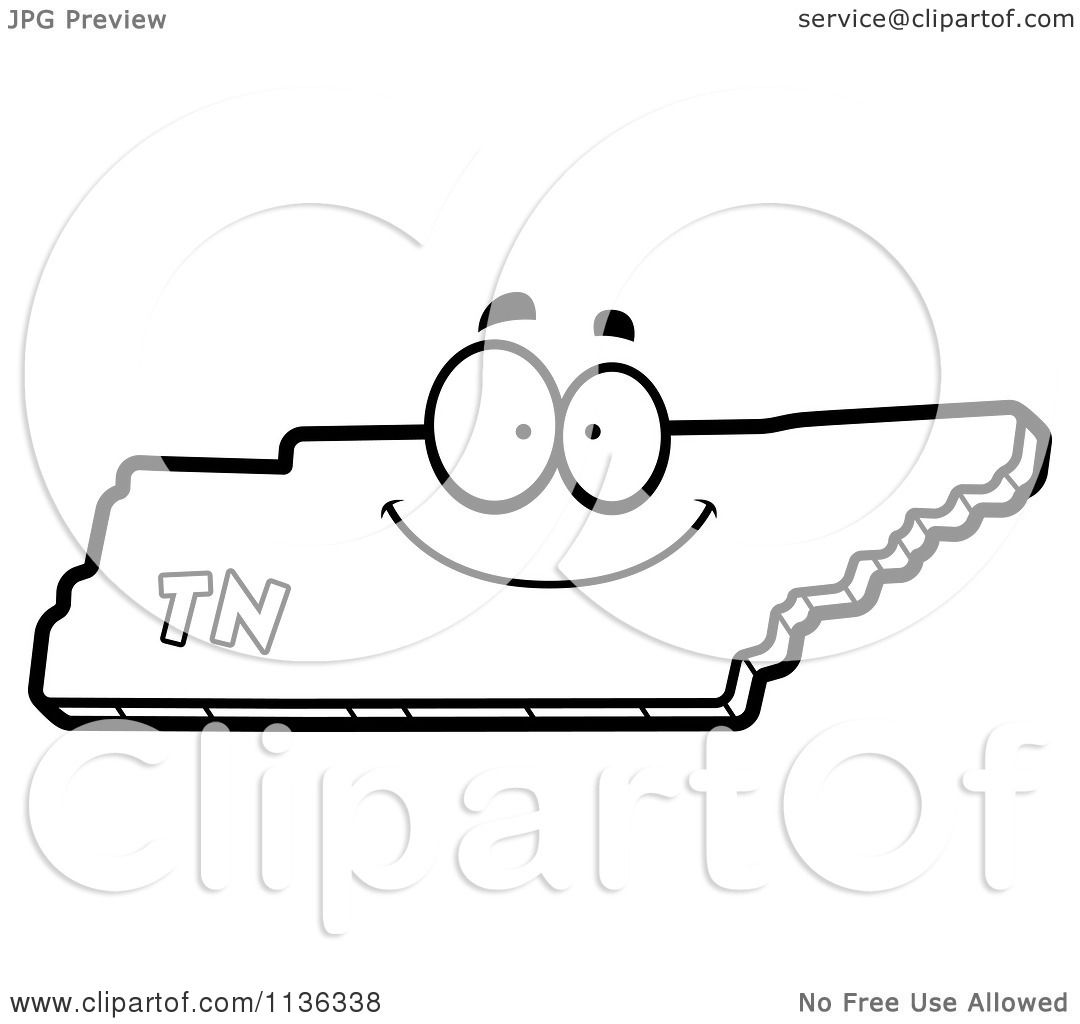 Cartoon clipart of an outlined happy tennessee state for Tennessee state flag coloring page
