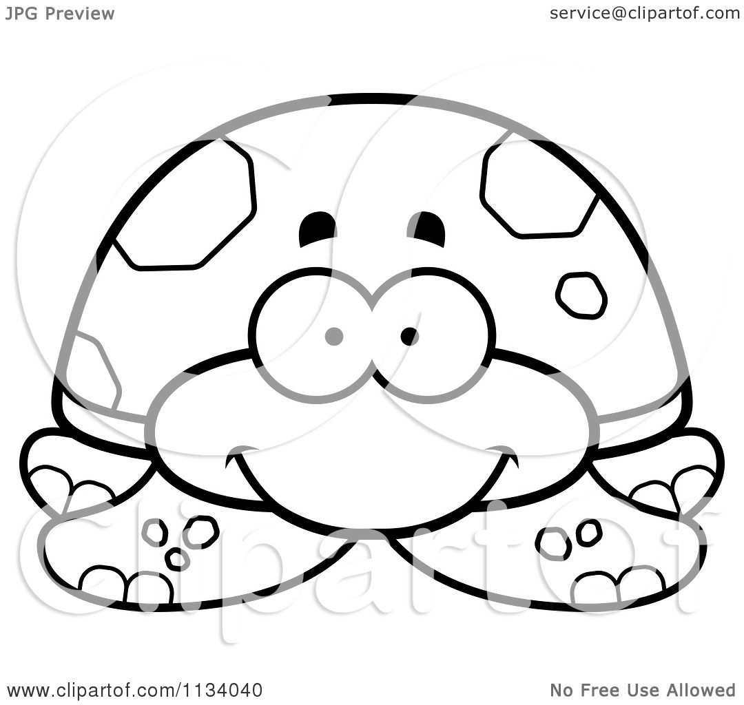 cartoon clipart of an outlined happy tortoise turtle black and