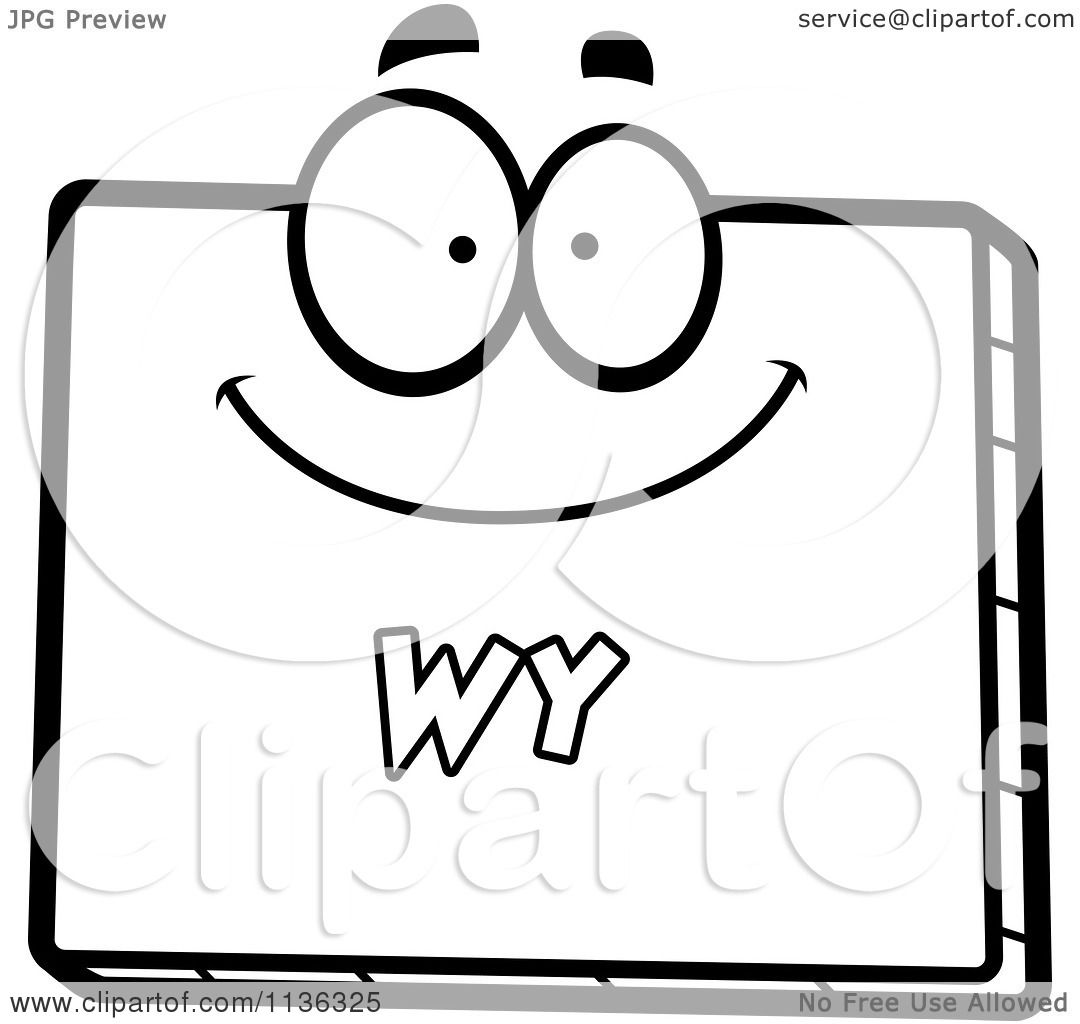 Cartoon clipart of an outlined happy wyoming state for Wyoming flag coloring page