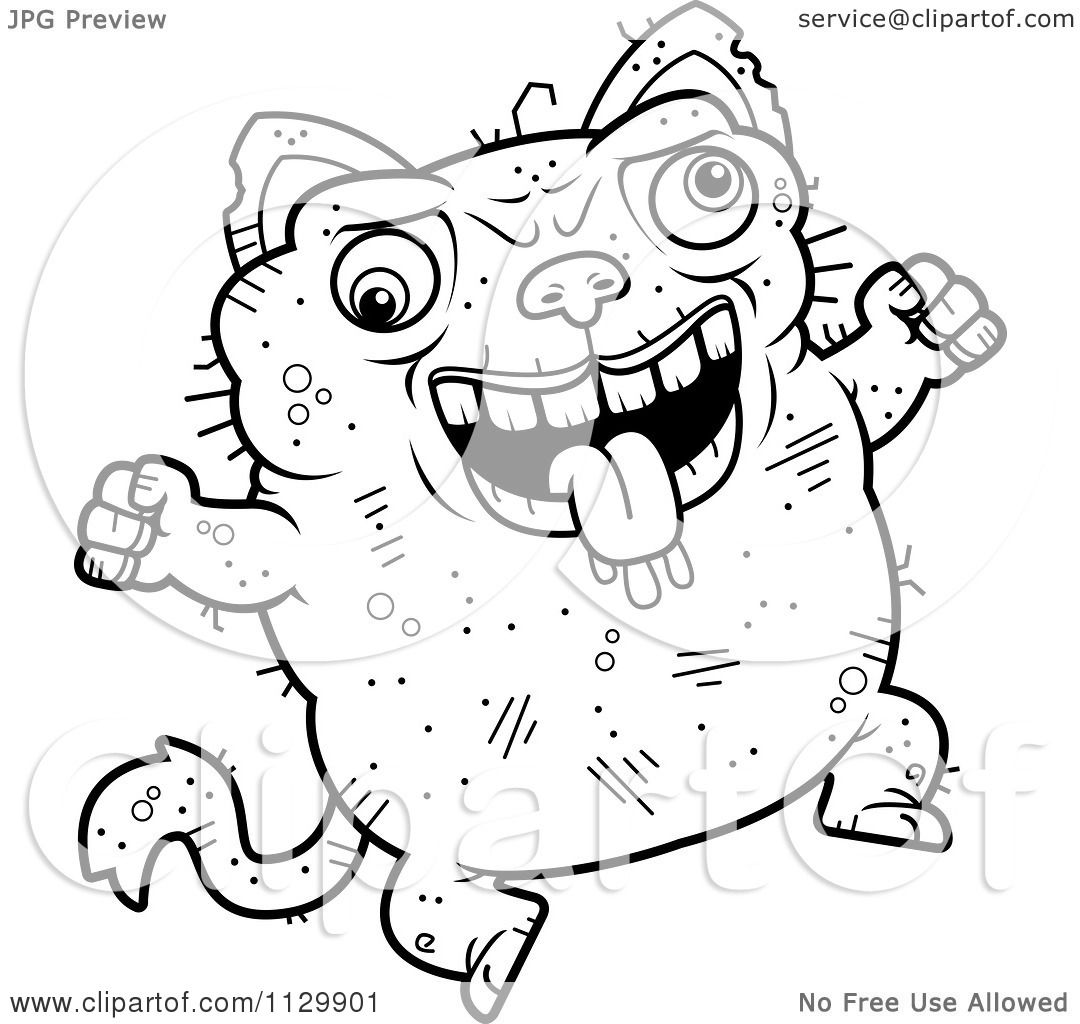 cartoon clipart of an outlined jumping ugly cat black and white vector coloring page by cory thoman