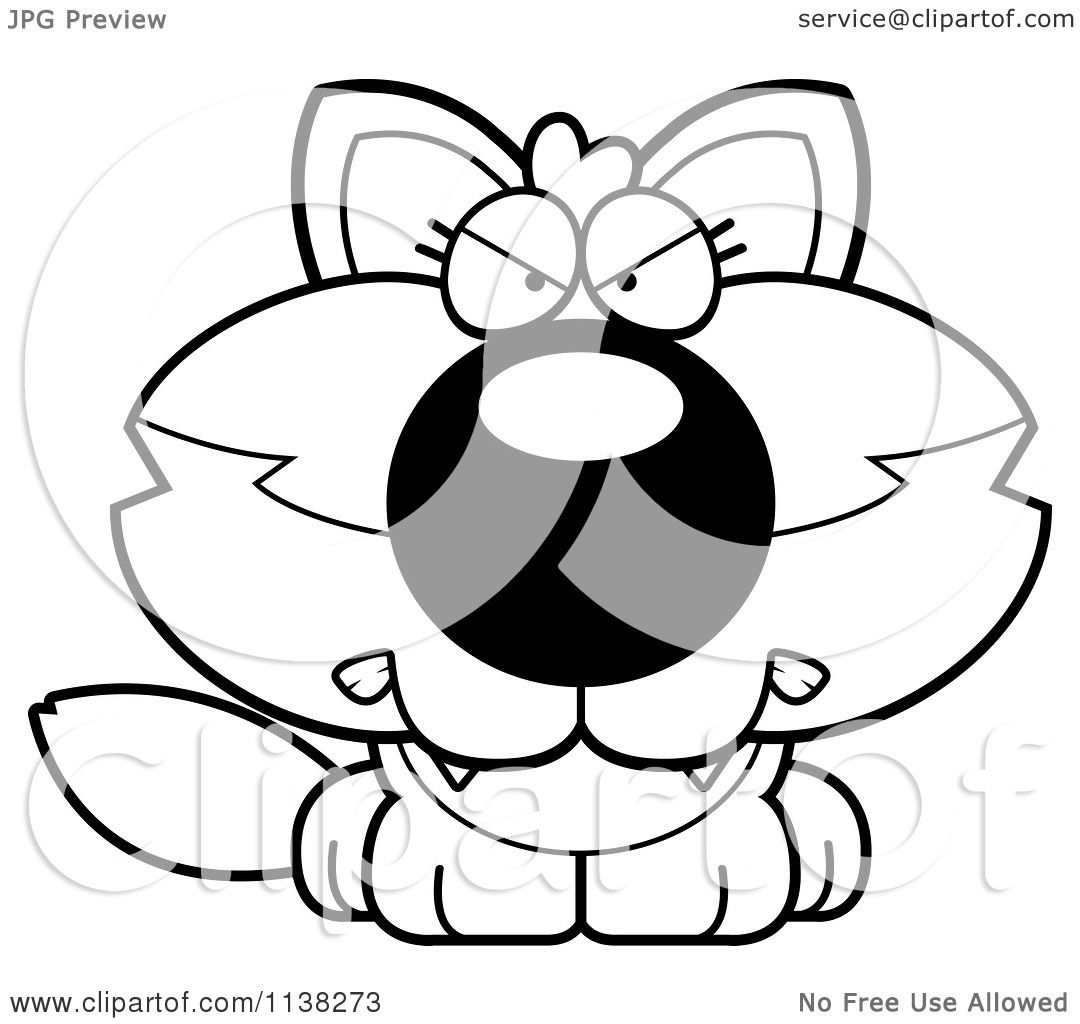 Cartoon Clipart Of An Outlined Mad Baby Wolf Black And