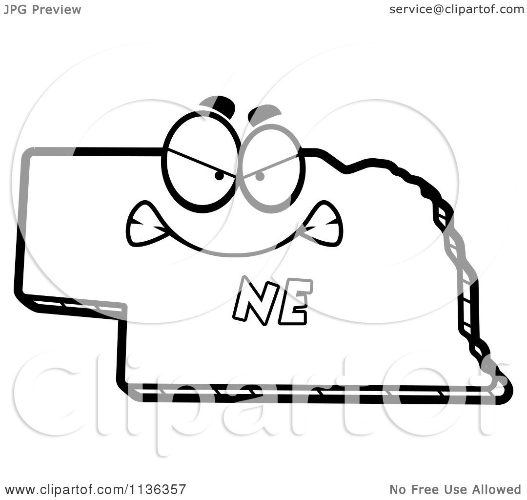 Cartoon Clipart Of An Outlined Mad Nebraska State Character Black And White Vector Coloring Page By Cory Thoman