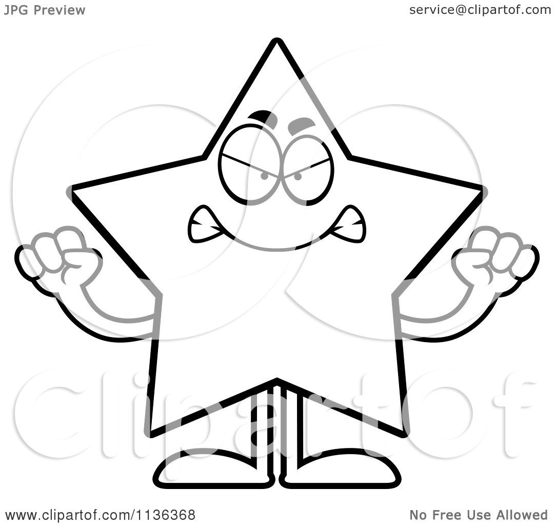 Cartoon Characters Black And White : Cartoon clipart of an outlined mad star character black