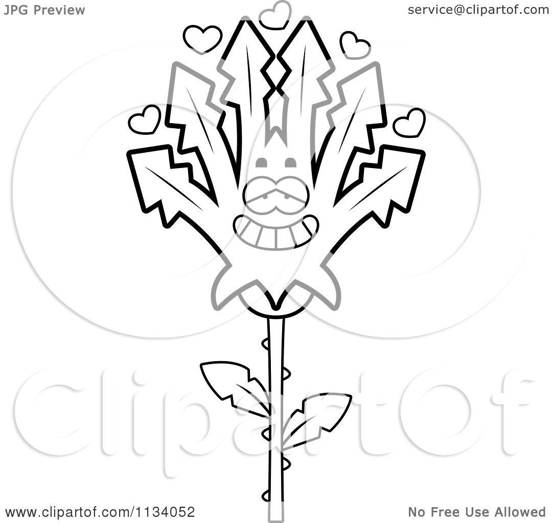 Cartoon Clipart Of An Outlined Marijuana Pot Leaf Mascot In Love