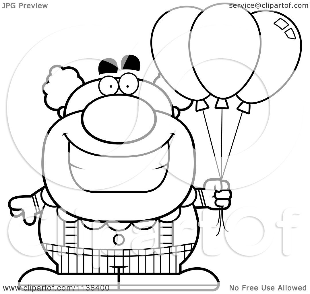 cartoon clipart of an outlined pudgy circus clown with balloons