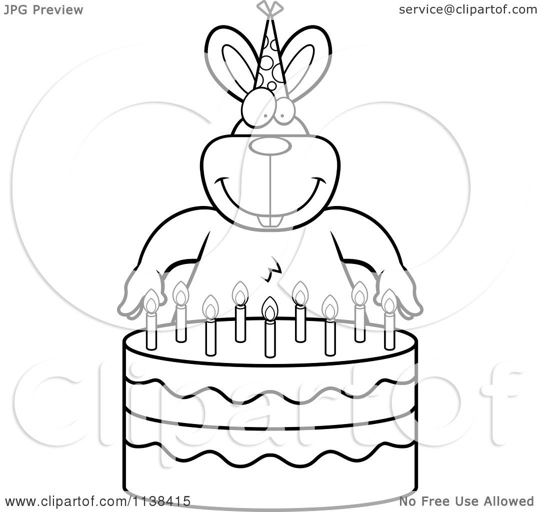 Outlined Birthday Cake For Coloring Book Stock Vector Art Black - coloring page birthday cake no candles