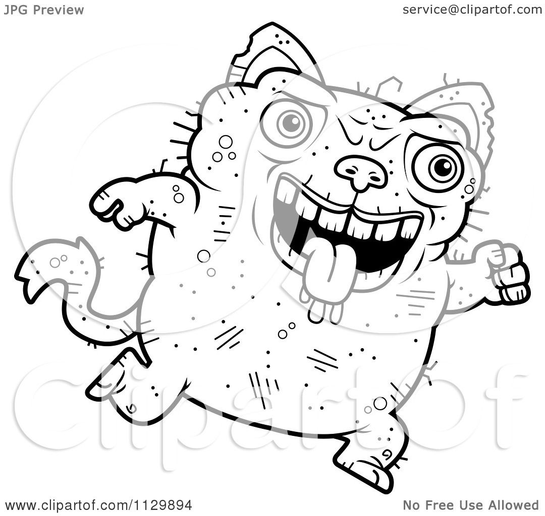 cartoon clipart of an outlined running ugly cat black and white vector coloring page by cory thoman