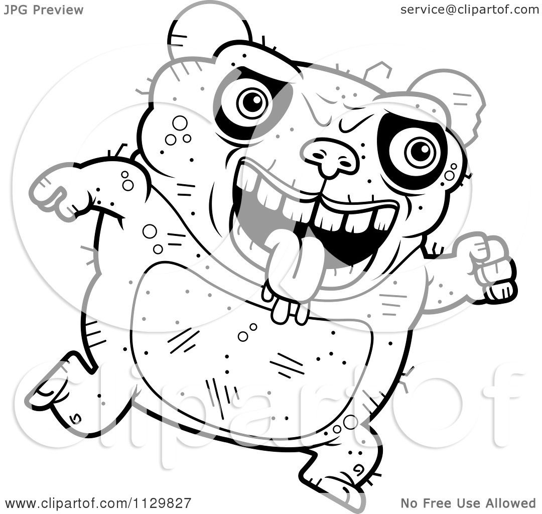 Cartoon Clipart Of An Outlined Running Ugly Panda - Black ...
