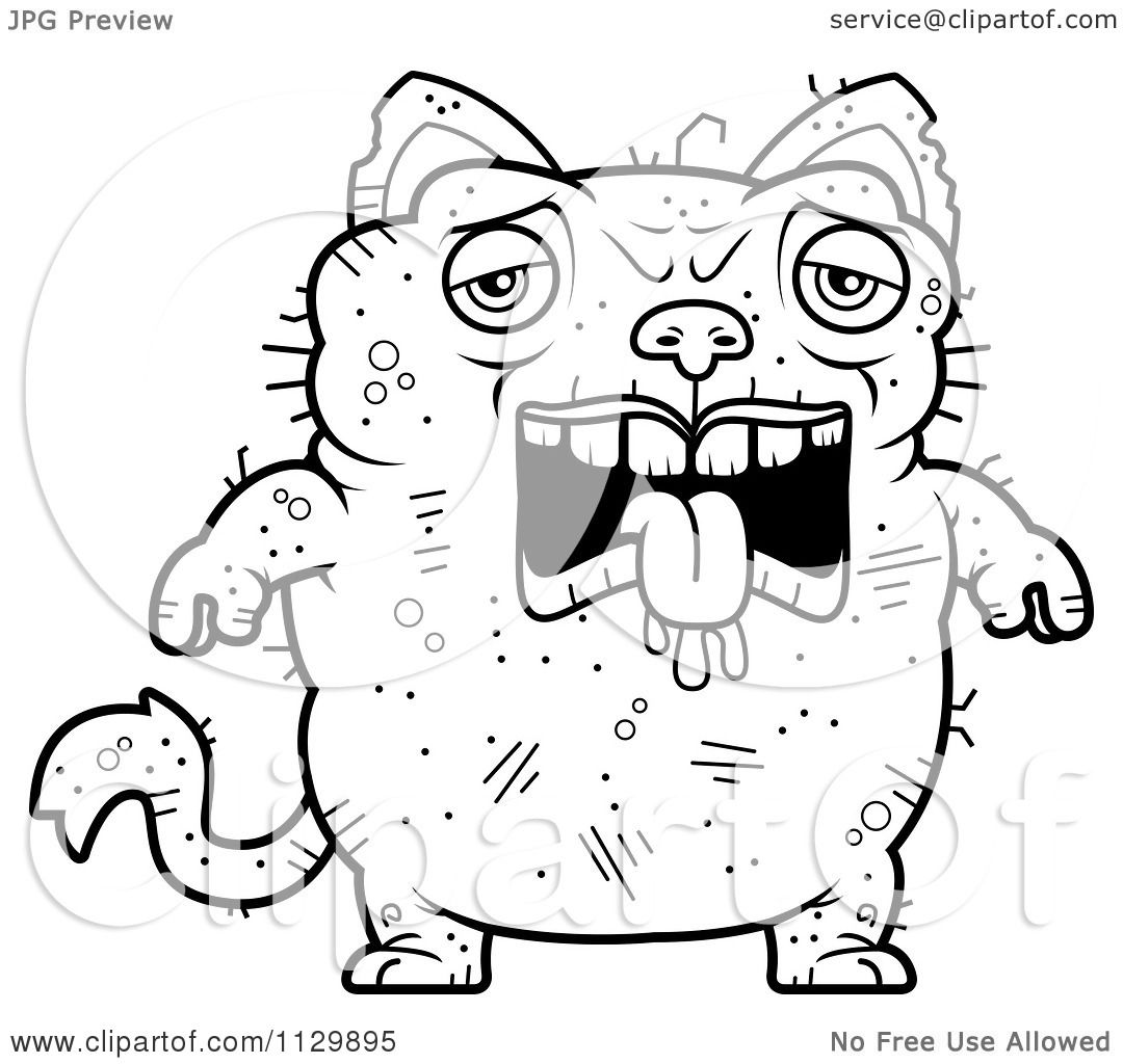 cartoon clipart of an outlined sad ugly cat black and white vector coloring page by cory thoman - Cat Black White Coloring Page