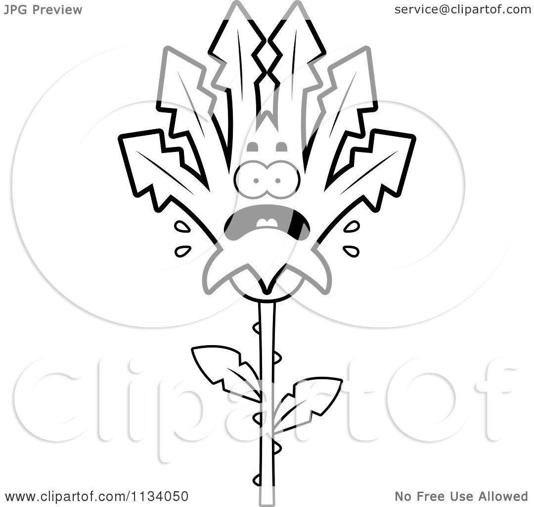 Cartoon Clipart Of An Outlined Scared Marijuana Pot Leaf Mascot ...