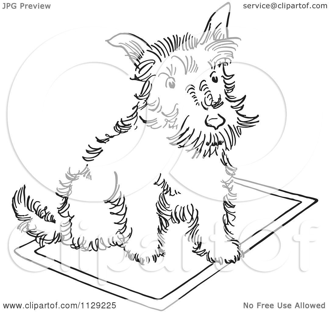 cartoon clipart of an outlined scottie dog on a rug black and white vector coloring page by. Black Bedroom Furniture Sets. Home Design Ideas