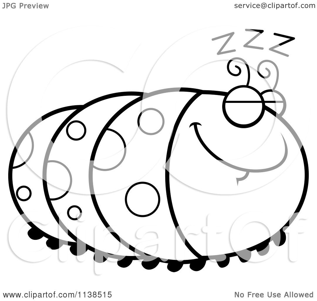 Cartoon Clipart Of An Outlined Sleeping Caterpillar - Black And ... for Clipart Caterpillar Black And White  103wja